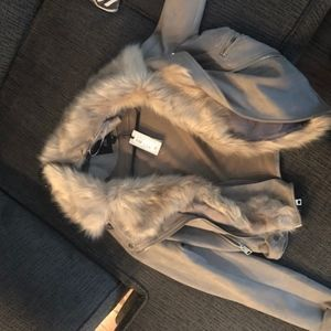 River Island Faux Fur Lined Moto Jacket